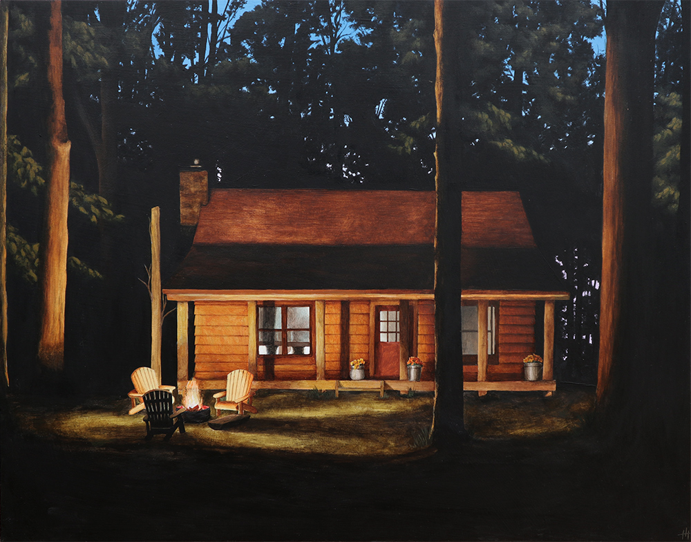 An acrylic painting of a cottage in the woods