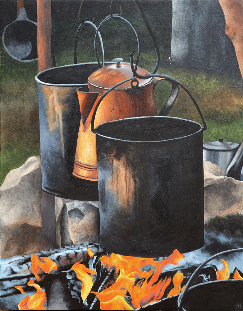 Acrylic painting of rustic pots and kettle over an open fire
