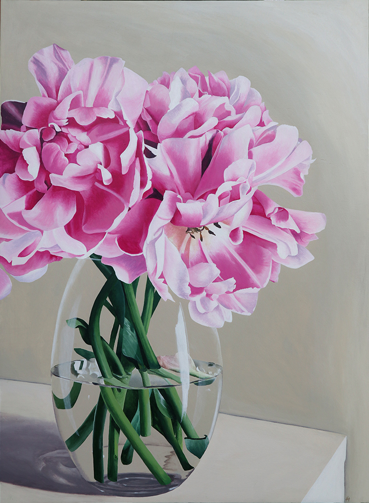 Acrylic painting of pink and white tulips in a glass vase