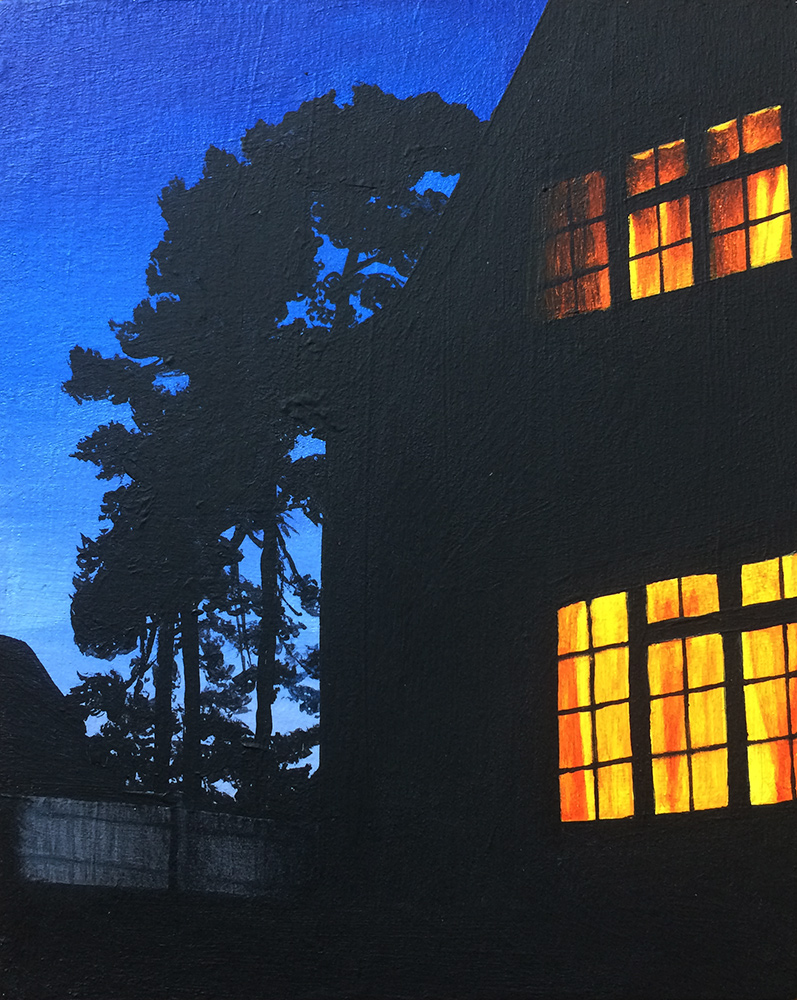 An acrylic painting of a house at night