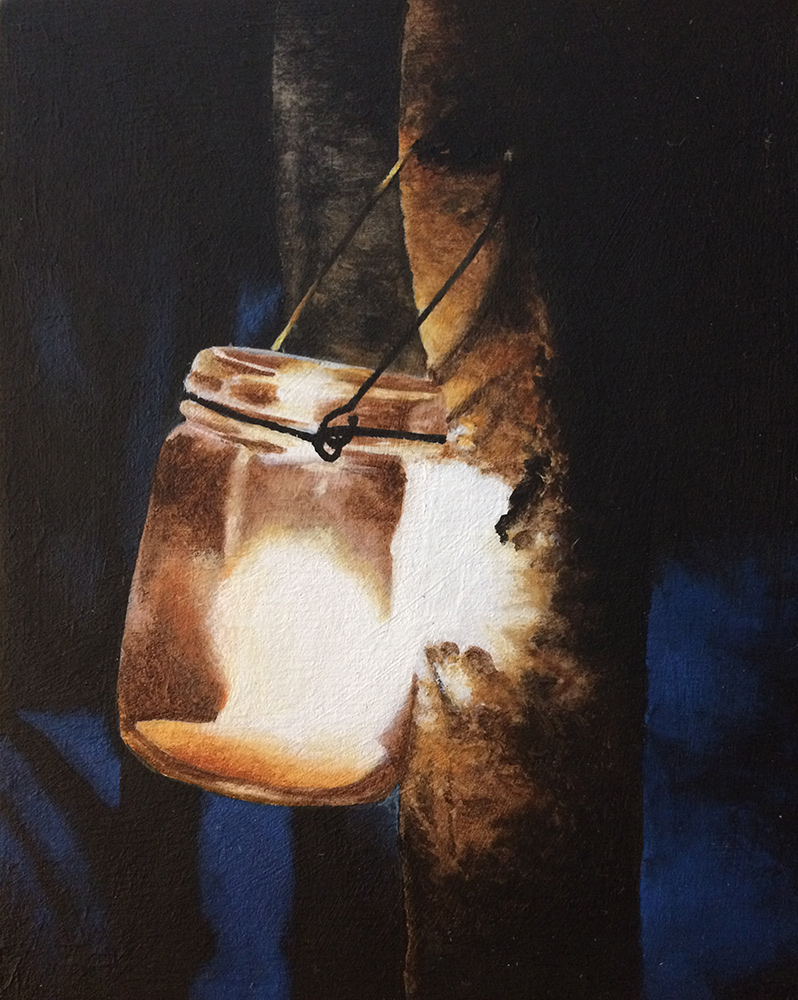 An acrylic painting of a candle in a jar hanging by a tree