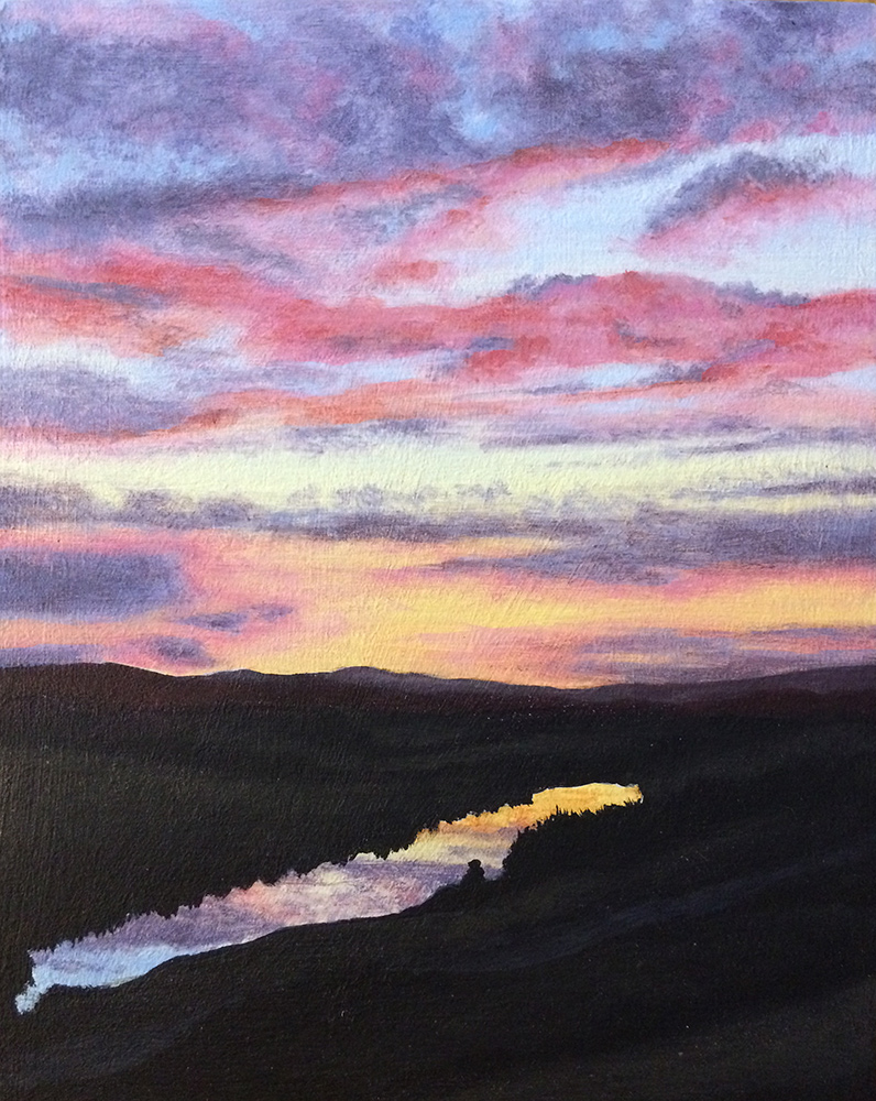 An acrylic painting of a sunset reflecting in a lake