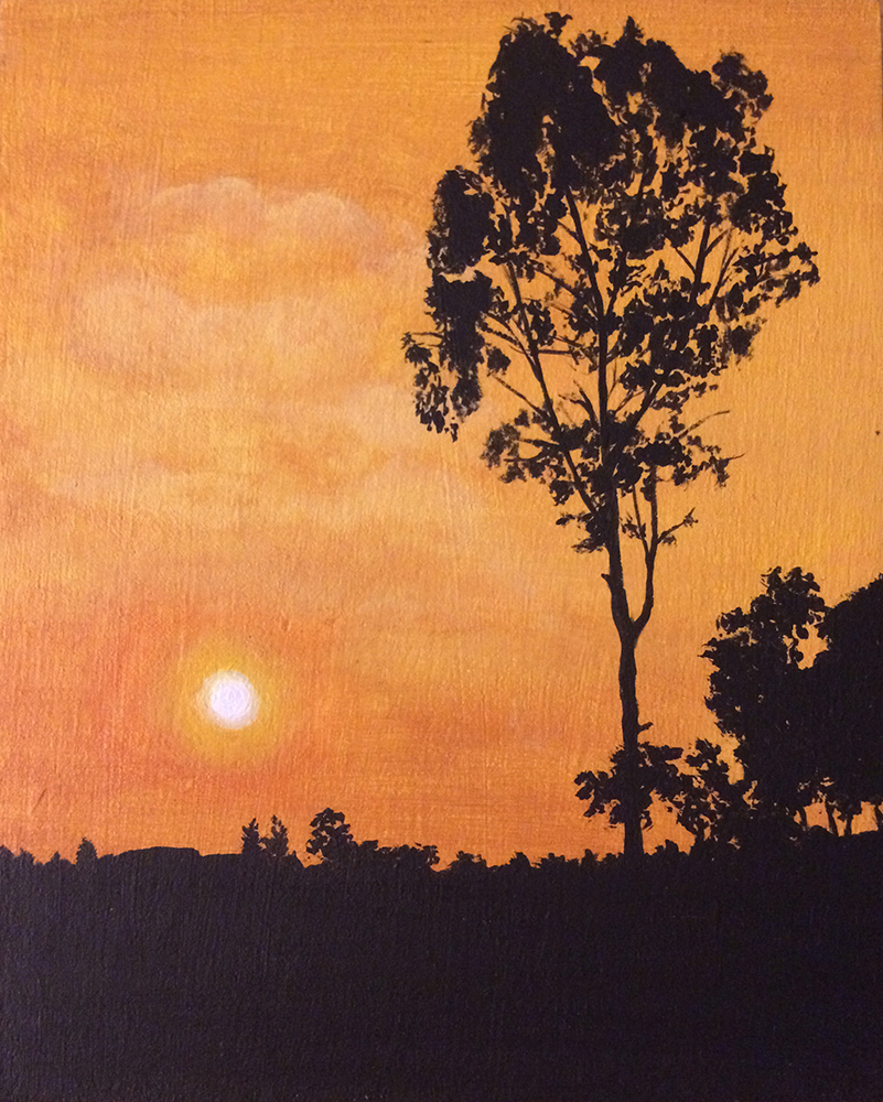 An acrylic painting of a warm sunset