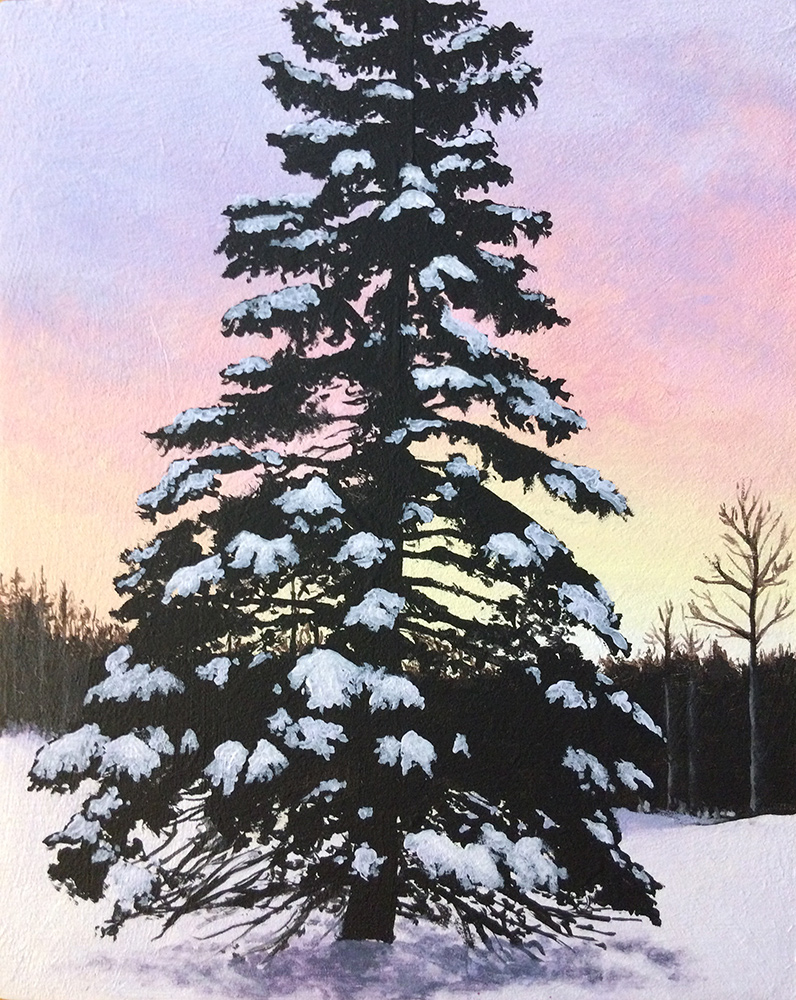 An acrylic painting of a snow-covered tree at sunrise