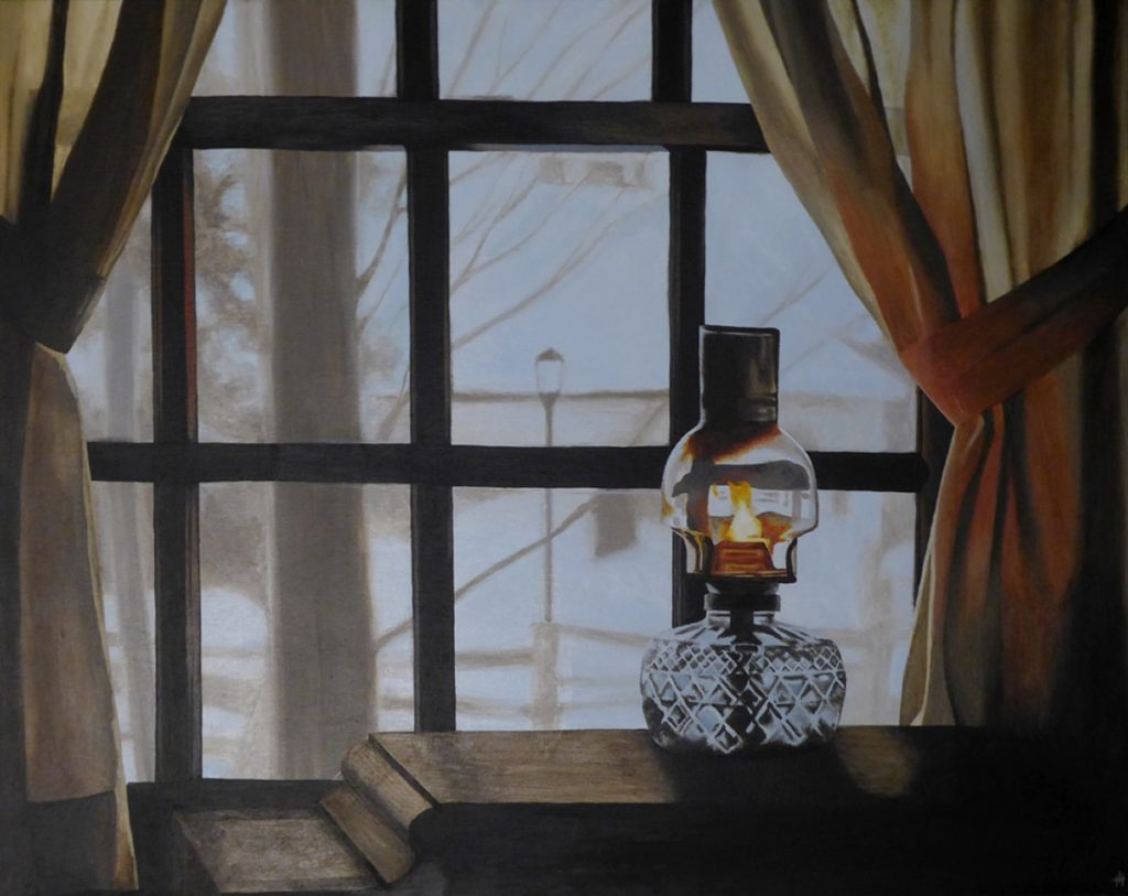 An acrylic painting of an oil lamp by a window