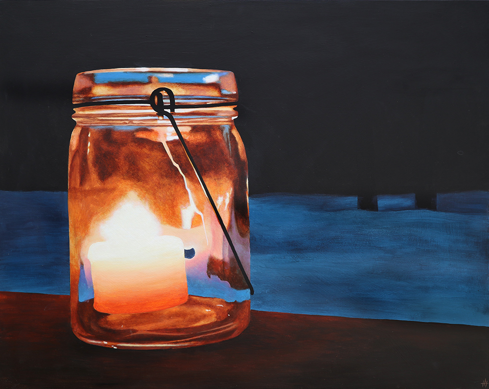 An acrylic painting of a glass jar and candle