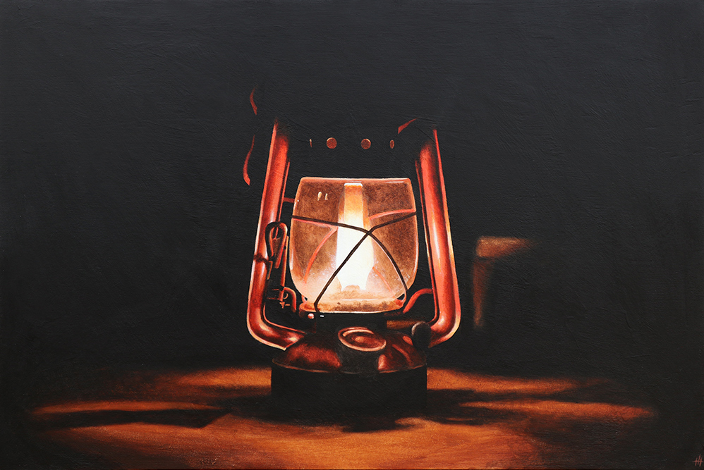 An acrylic painting of an oil lantern in darkness