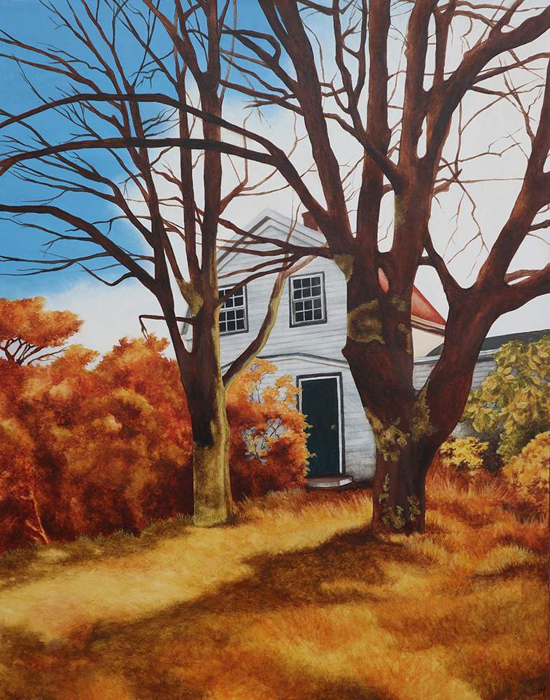 Painting of an old house nestled in autumn trees