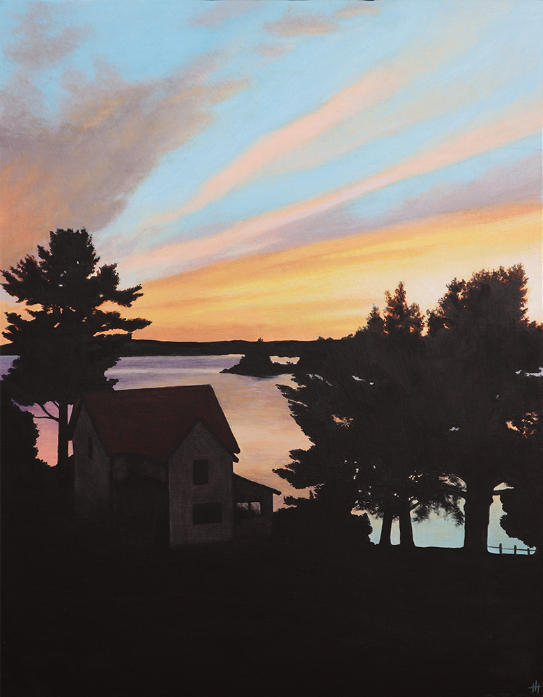 Acrylic painting of a waterfront view of a sunset