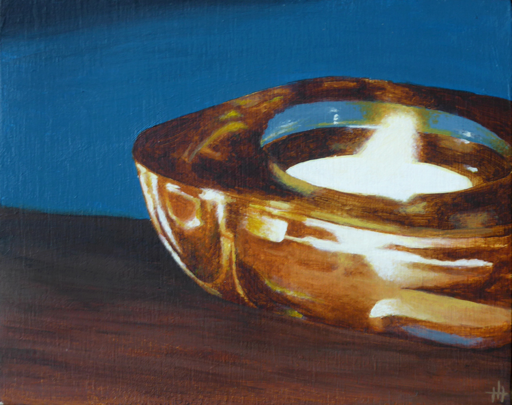 An acrylic painting of a candle in a glass holder