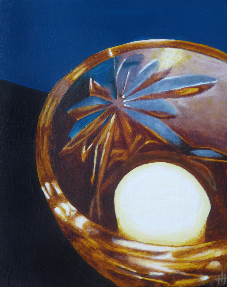 An acrylic painting of a candle in a crystal glass holder