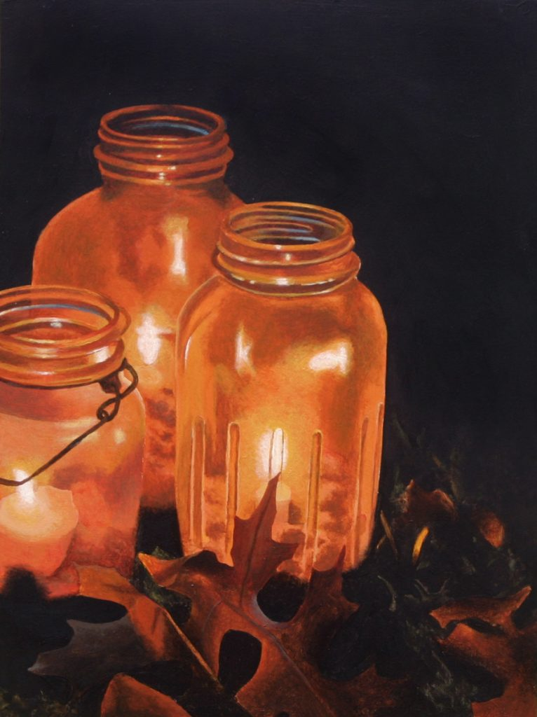 Acrylic painting of 3 glass jars with candles inside