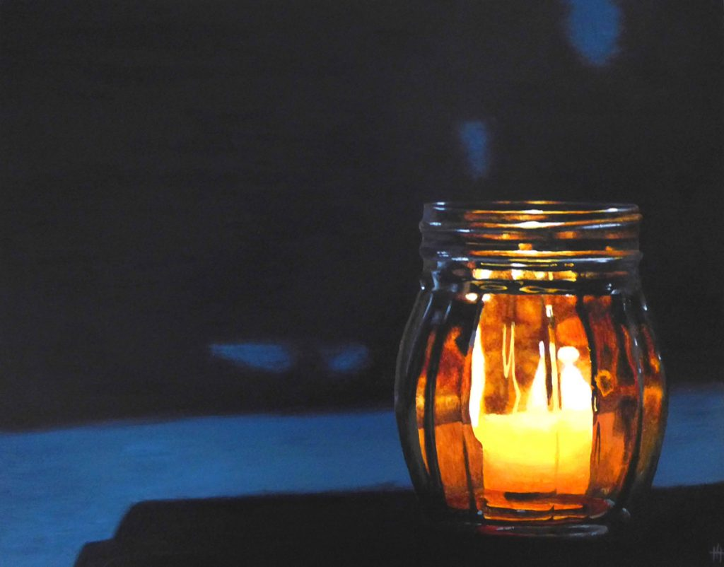 An acrylic painting of a candle in a jar at night