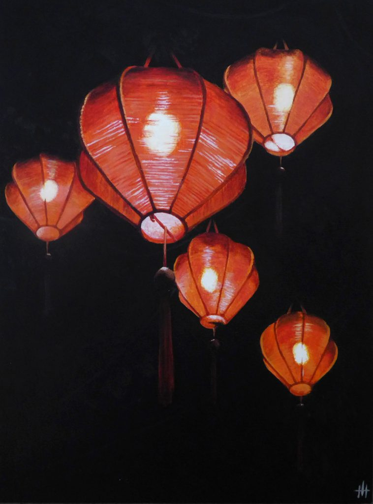 Acrylic painting of red chinese lanterns on a dark background