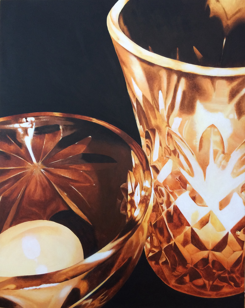 Acrylic painting of candles in crystal holders