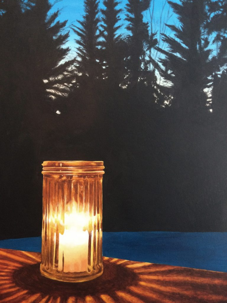 An acrylic painting of a candle in a glass jar