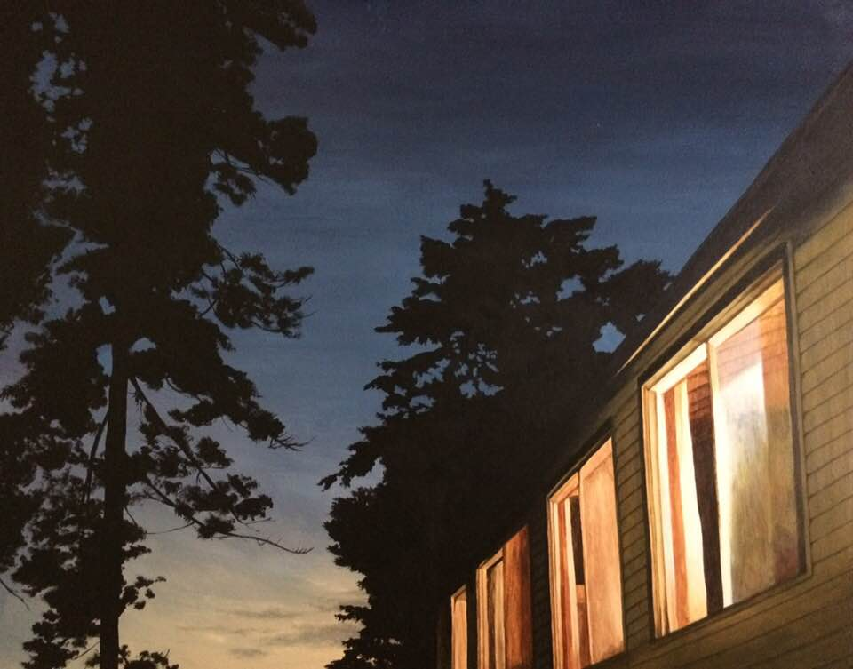 An acrylic painting of a cottage at sunset