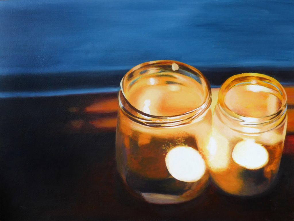 An acrylic painting of two candles in jars on a windowsill