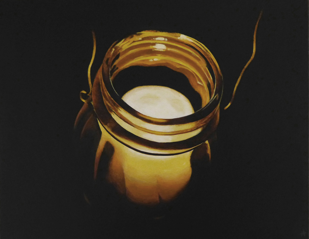 An acrylic painting of a candle in a hanging jar