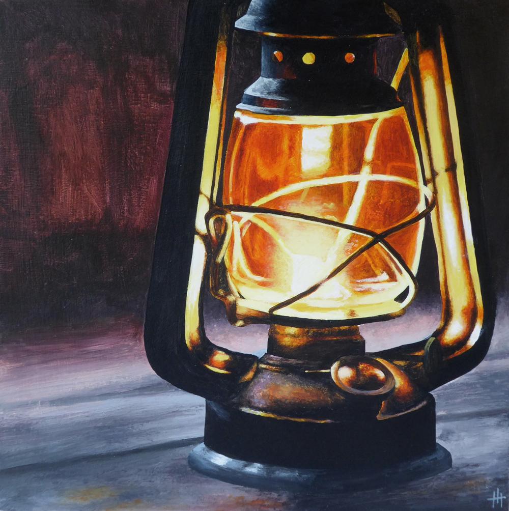 An acrylic painting of an oil lantern