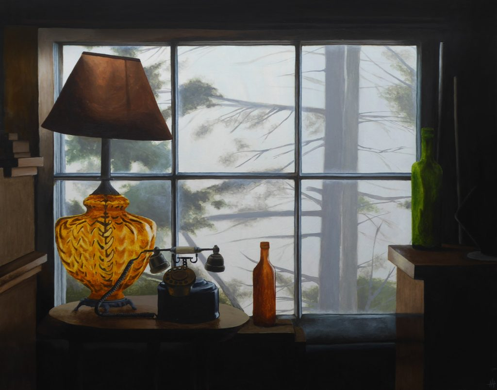 An acrylic painting of an old antique shop window with lamp and bottles