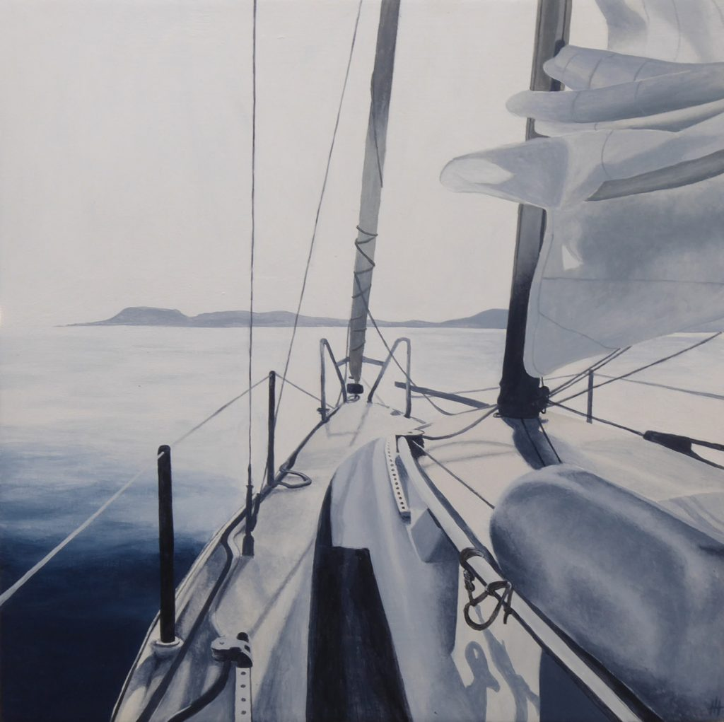 Acrylic painting in muted colours of a yacht on the sea