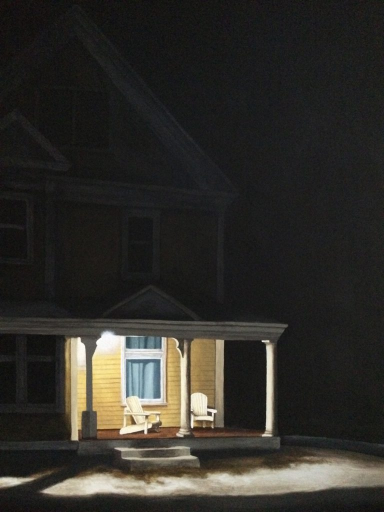 An acrylic painting of a house at night with the porch light on