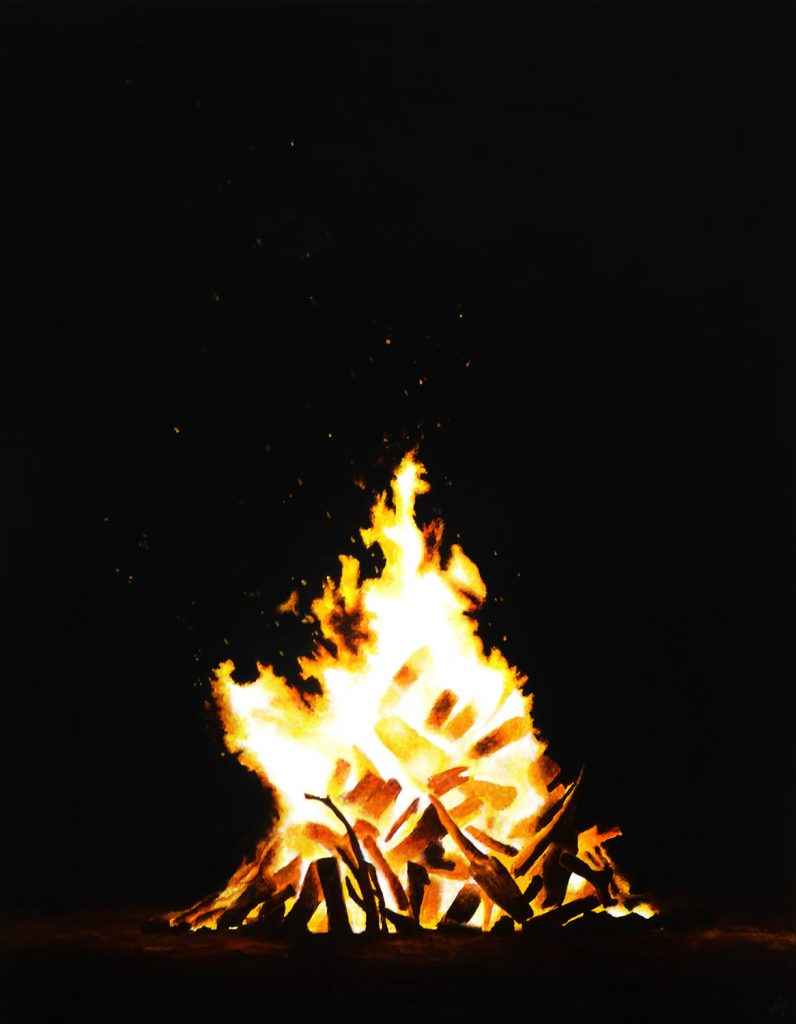 An acrylic painting of a large bonfire