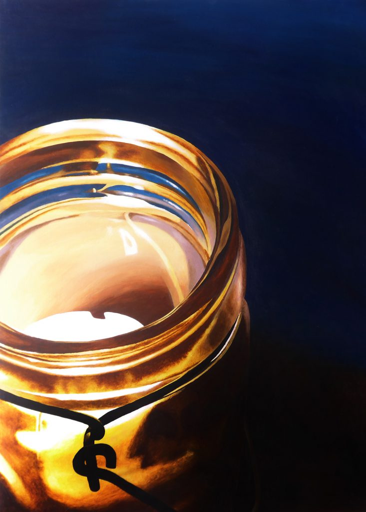 Acrylic painting of a candle in a jar