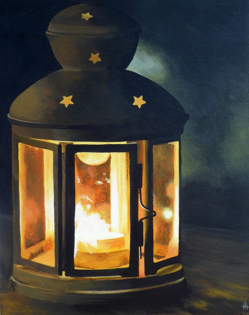 An acrylic painting of a candle lantern with stars