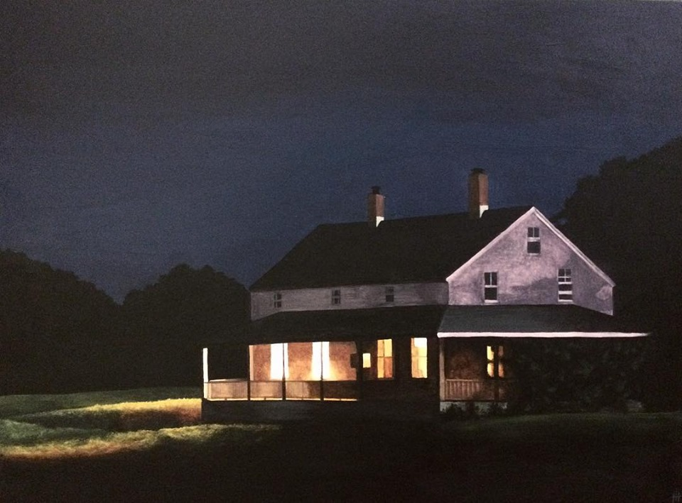 An acrylic painting of a country house