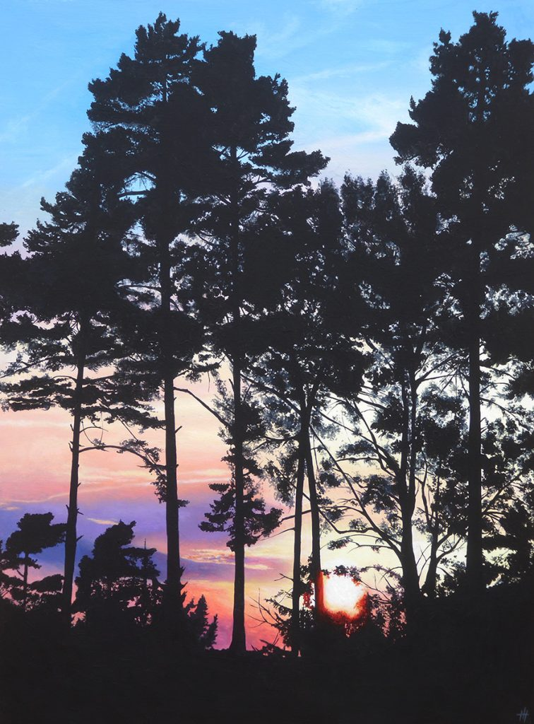 An acrylic painting of a sunset through trees