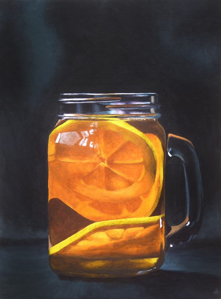 An acrylic painting of orange slices floating in a glass of water