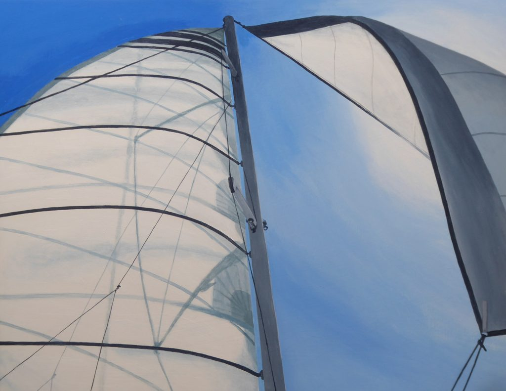An acrylic painting of sails catching the breeze