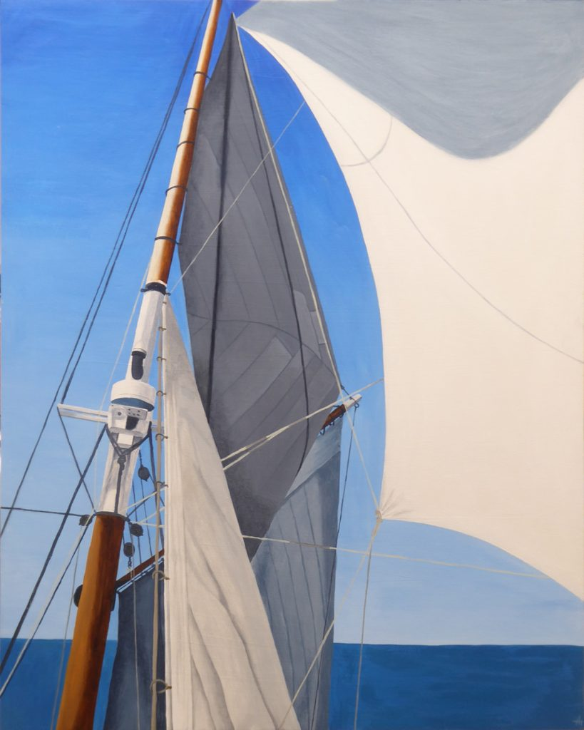 An acrylic paintings of a ship's mast and sails